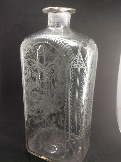Wheel etched leadglass spirit flask
