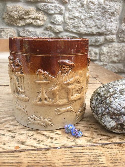 Rare Cat sprigged hunting mug saltglaze stoneware