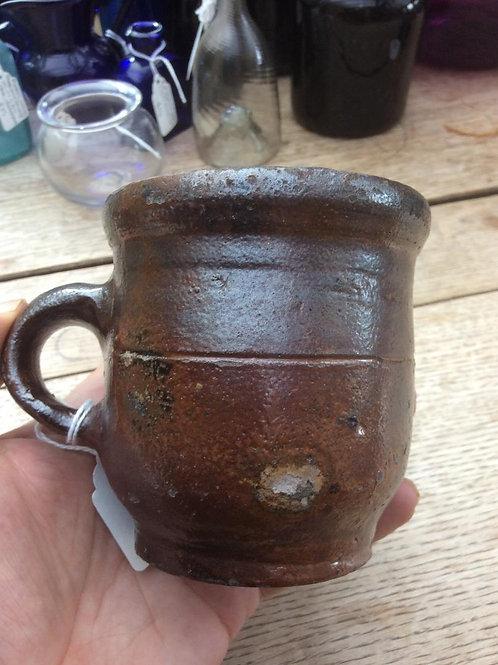 Saltglaze rustic handled porringer c1800