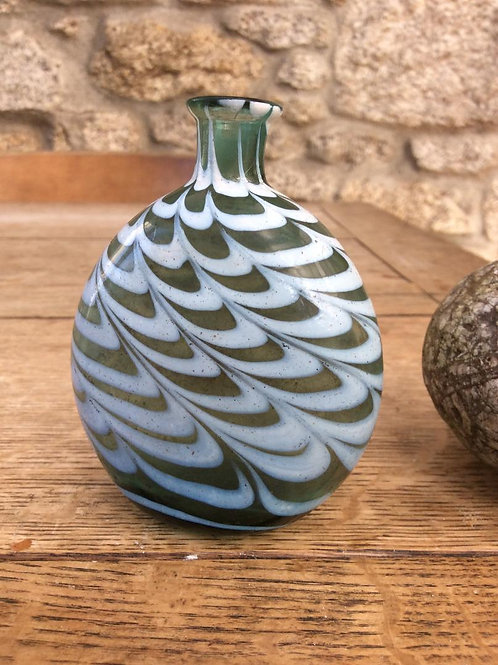 Nailsea style combed enamelled flask 1750-1800