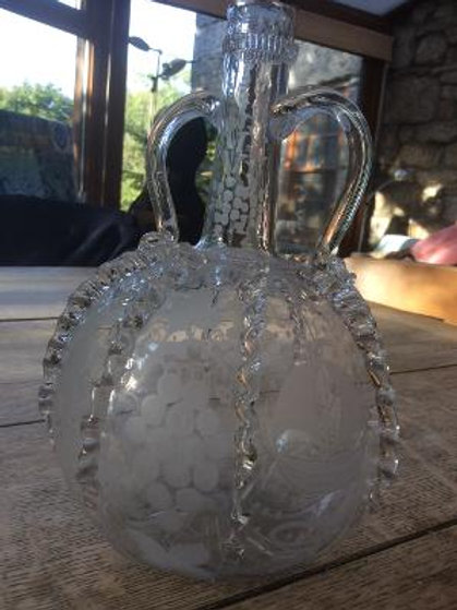 Dutch engraved decanter with rigarees