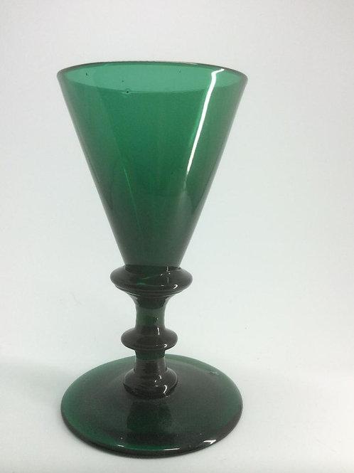 Georgian Bristol green knopped stem wine glass