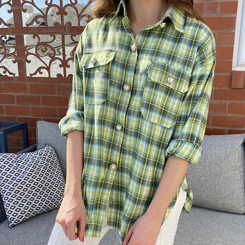 Pearl Button Check Print Shirt