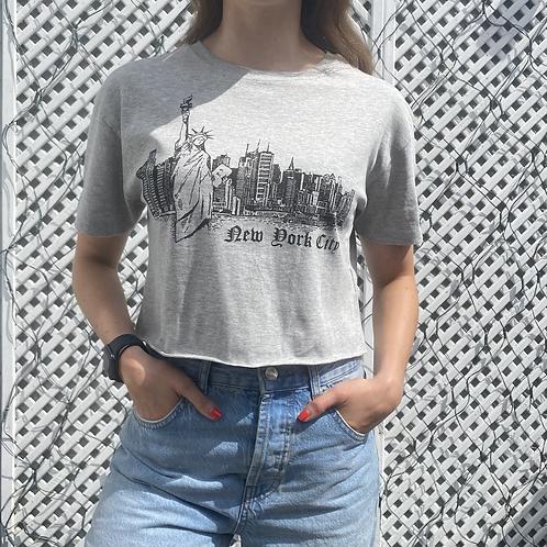 New York Skyline Print Cropped T-Shirt