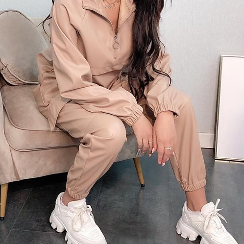 Vegan Leather Half Zip Loungewear Set