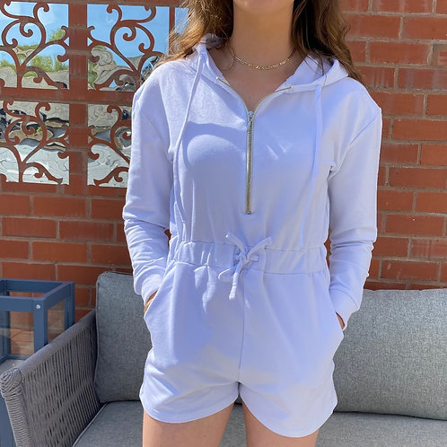 White Hooded Playsuit