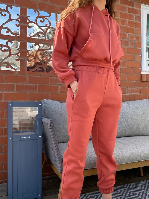 Plain Pocket Long Sleeve Hoody Jogger Set