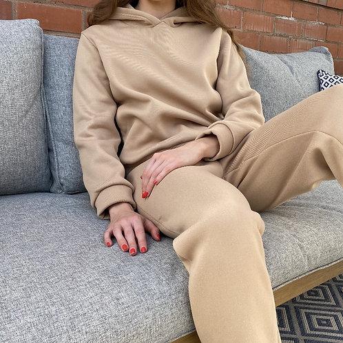 Long Sleeve Thermal Hooded Top & Pocket Design Jogger Set