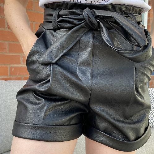 Belted Vegan Leatherette Turn Up Shorts