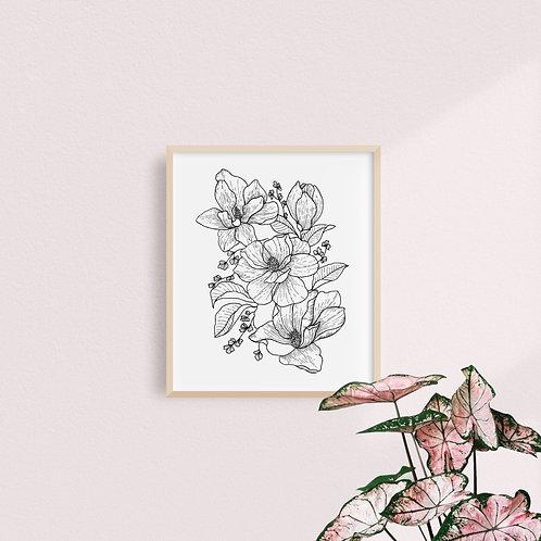 Print Magnolias B&N