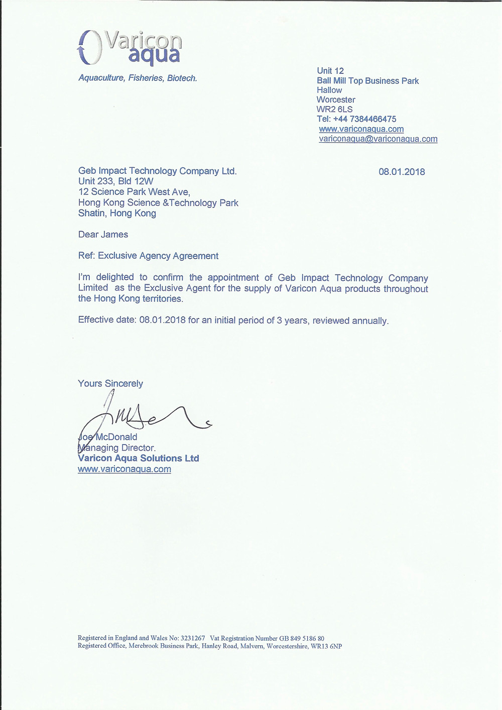 Appointment Letter from Varicon Aqua