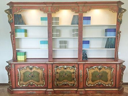 LQS013 - Libreria massiccia dipinta a mano con faretti che illuminano