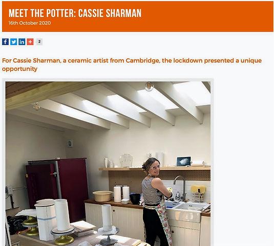 Cassie Sharman Ceramic studio for ClayCraft 2020