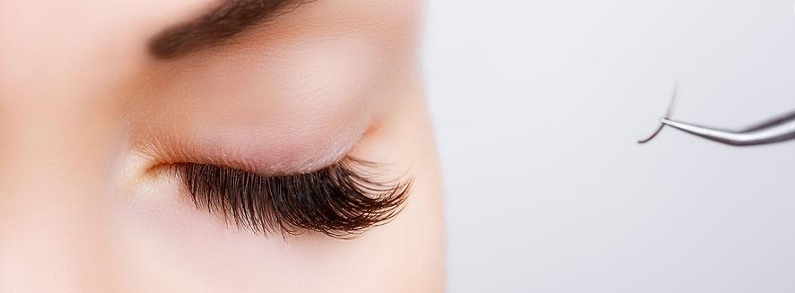 Eyelash line close-up of beautiful woman