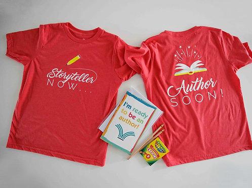"""Story Teller Now, Author Soon"" kids t-shirt"