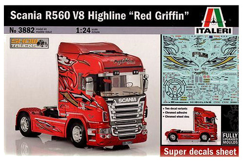 "3882 - SCANIA R560 V8 HIGHLINE ""RED GRIFFIN"" 1:24"