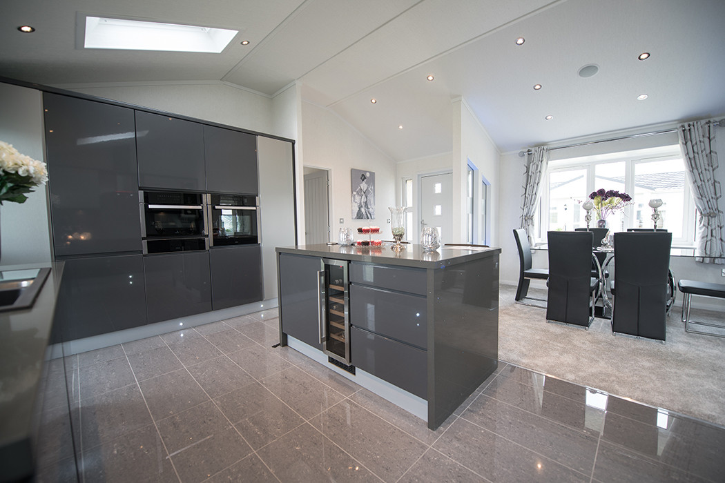 kensington luxury lodge open plan kitchen area Royal Arch Park Aberdeenshire