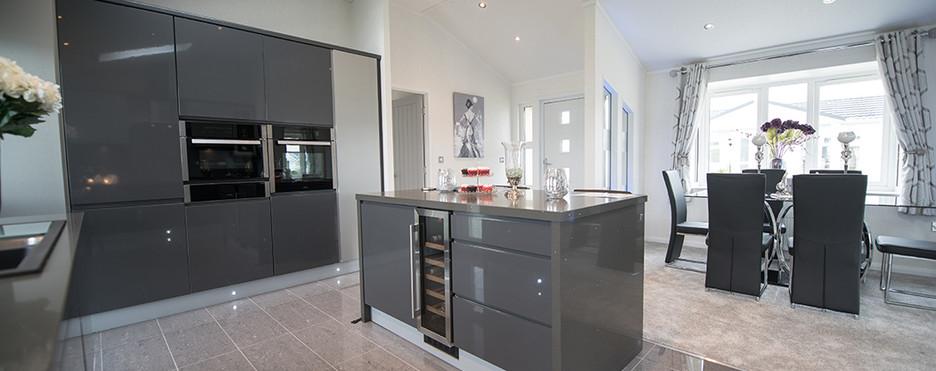 kensington luxury lodge open plan kitchen area Royal Arch Park Aberdeenshire