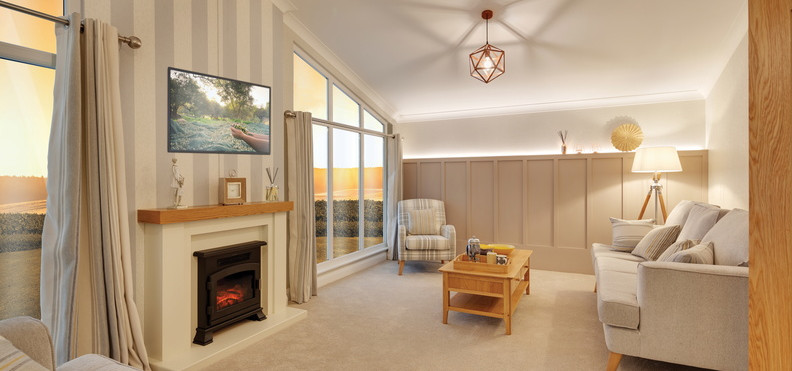 Willerby, Delamere leisure home fireplace