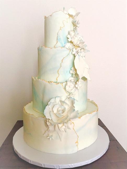 deckled edge floral wedding cake