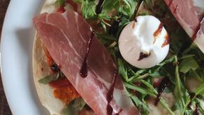 Easy Tortilla Pizza | Jamon, Arugula, and Burrata