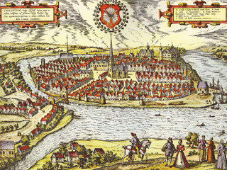 '''Description''': historical sight of the German town of Kiel by Georg Braun and Franz Hogenberg (between 1572 and 1618)