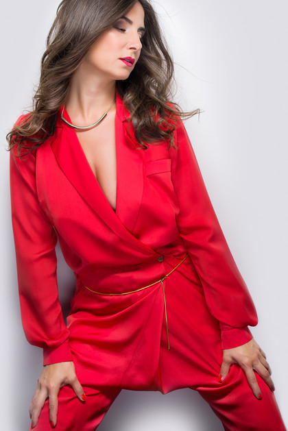 beauty shot of a woman in red dress