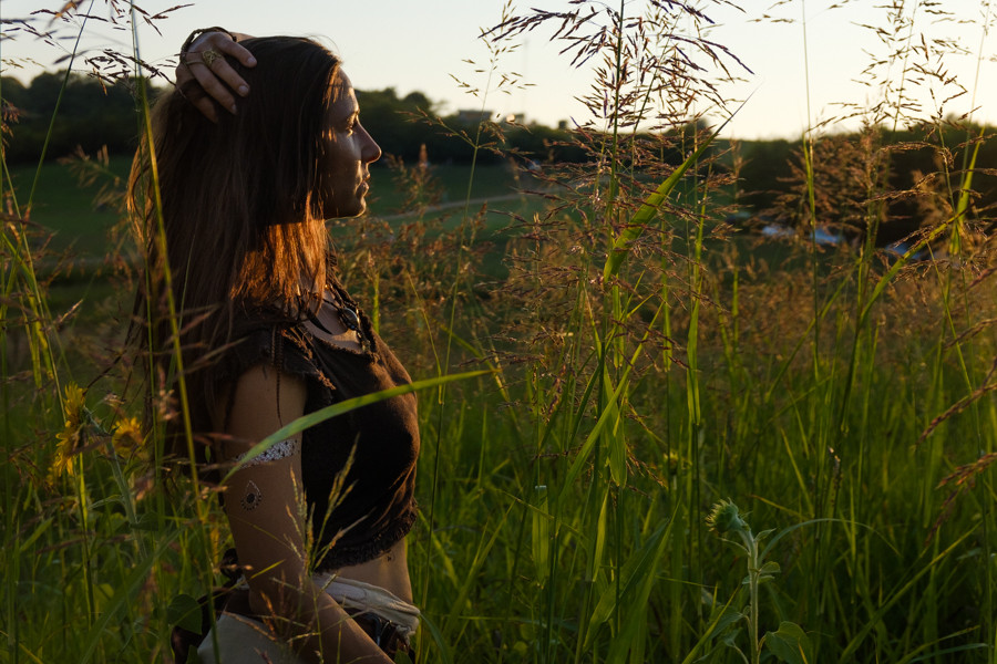 portrait of a hippie woman in nature