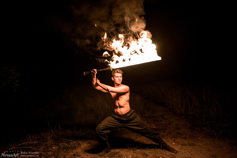 photo of a fire blade performer
