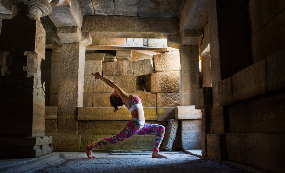 picture of a yoga asana in a temple ruins