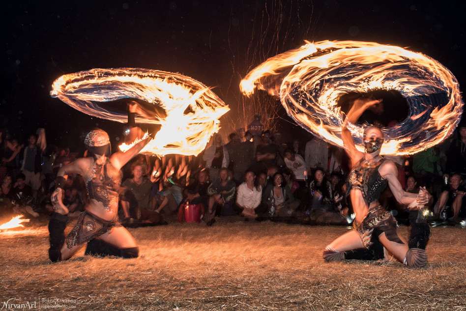 photo of fire circus on Ozora