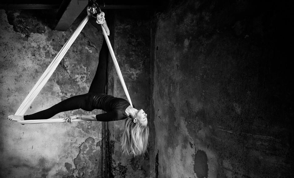 bw photo of an air yoga asana