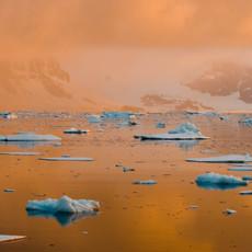 905 Antarctic Sunset--Atmospheric Light--Penola Strait--Antarctic Peninsula