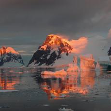 903 Antarctic Sunset--Penola Strait--Antarctic Peninsula