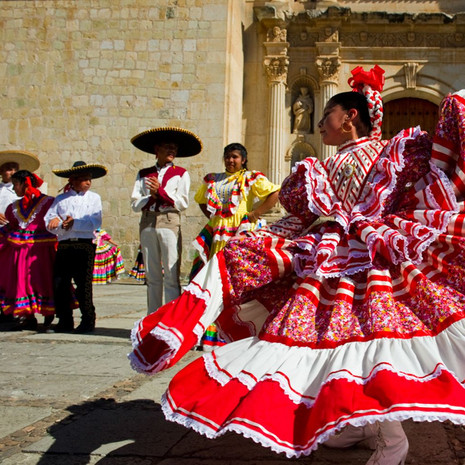 1305 Dancers--Cathedral--Oaxaca--Mexico