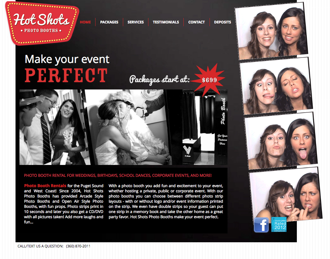 Hot Shots Photo Booths Website