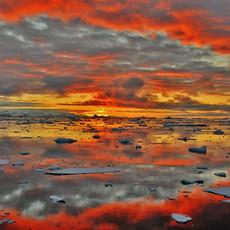 908 Antarctic Sunset--Sun Barely Below Horizon--Antarctic Peninsula