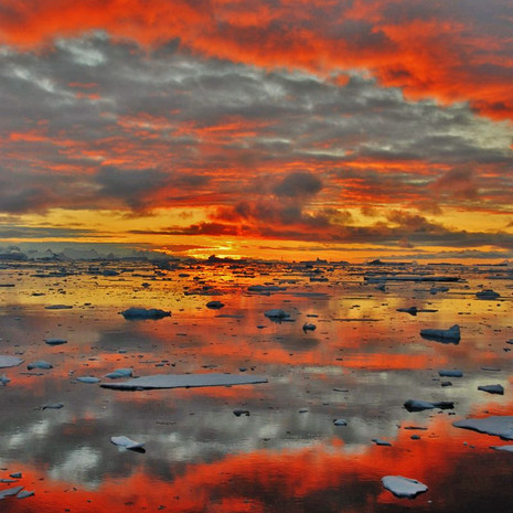 908 Antarctic Sunset--Sun Barely Below Horizon--Antarctic Peninsula