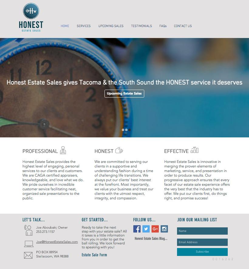 Honest Estate Sales Website