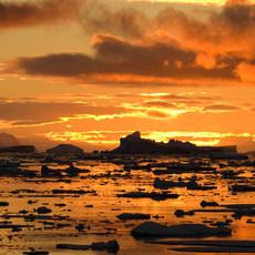904 Antarctic Sunset--Midnight Sun--Penola Strait--Antarctic Peninsula