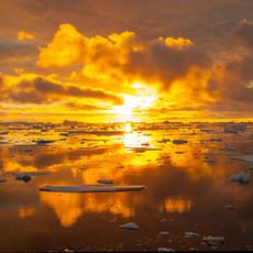 909 Antarctic Sunset--The Sun Begins to Rise--Antarctic Peninsula
