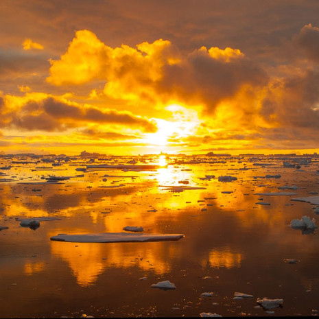 909 Antarctic Sunset--The Sun Begins to Rise--Antarctic Peninsula