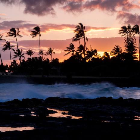 1813 Palms and Sunset--Poipu Beach--Kauai--Hawaii