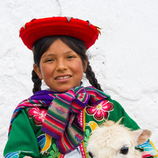 1304 Cuzco Girl--Llama--Cuzco Peru