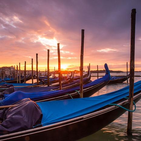 1701 Gondolas--Early Morning--Venice Italy