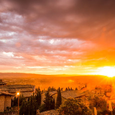 1706 Assisi--St. Peter Church--Visionary Sunset Italy