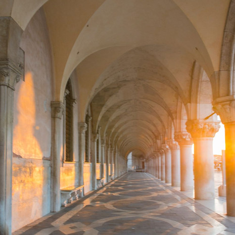 1703 Arcade of Arches--Early Morning--Venice Italy