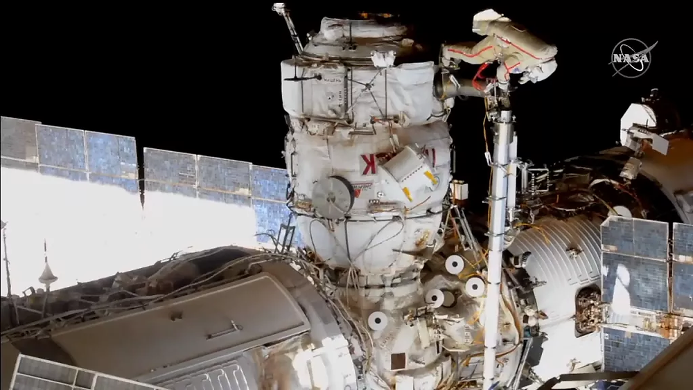 Russian cosmonauts Oleg Novitskiy and Pyotr Dubrov conducted their first spacewalk together on June 2, 2021. (Image credit: NASA TV)