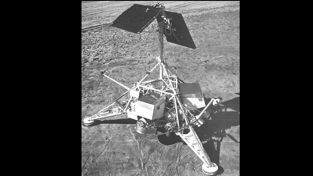 NASA's Surveyor 1 is the first in a series of seven robotic spacecraft that were sent to the Moon to gather data in preparation for Apollo missions. It was sent on 30 May 1966 and it took three thrusters to slow the lander. Image: NASA
