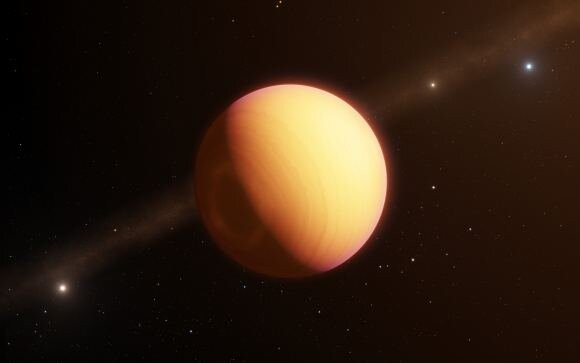 An artist's illustration of the exoplanet HR8799e. The ESO's GRAVITY instrument on its Very Large Telescope Interferometer made the first direct optical observation of this planet and its atmosphere. Credit: ESO/L. Calçada